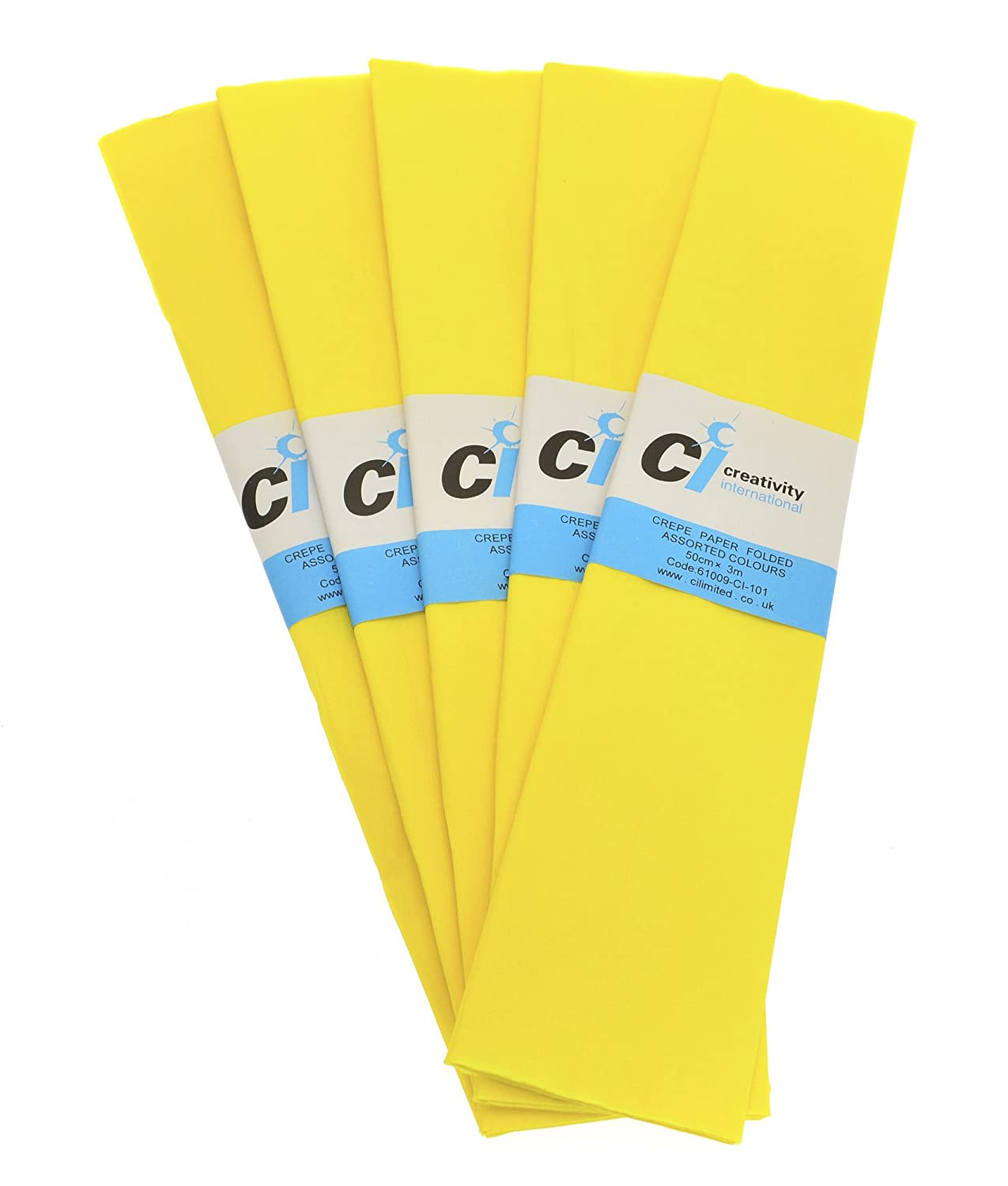 CI 10 Sheets Super Value Crepe Paper,Canary Yellow, Each Sheet Measures 50cm x 3m 6108-3