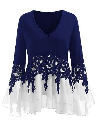 b99c17903cf CharMma Women s Plus Size V Neck Bell Sleeve Crochet Chiffon Insert Blouse  (Blue