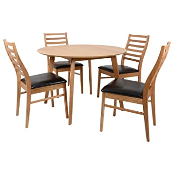 Xss Mackintosh Round Oak Wood Dining Table Furniture Set With 4 Wooden Chairs