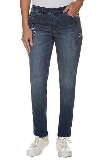 GINA LAURA Damen bis 3XL, Jeans Tina, Sternen Patches, gerades Bein, 5 Pocket, 713993