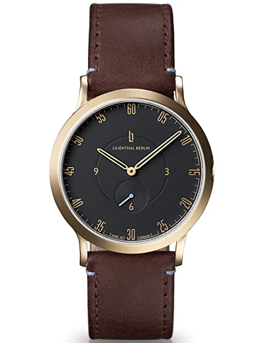 Amazon.com: Lilienthal Berlin Watch - Made in Germany - Designed in Berlin. Model L1 with Stainless Steel Case (Size: 37.5 mm, Case: Gold/Dial: Black/Strap: ...