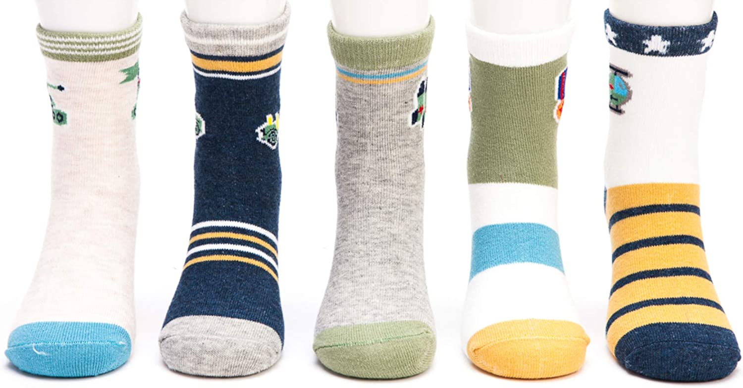 10 Pairs Toddler Kids Little Boys Colorful Novelty Fashion Cotton Crew Socks