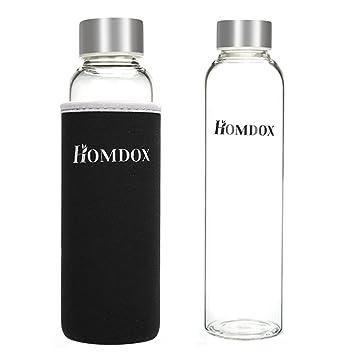 Homdox Botella de Agua para Llevar de Vidrio Borosilicato(360ml)