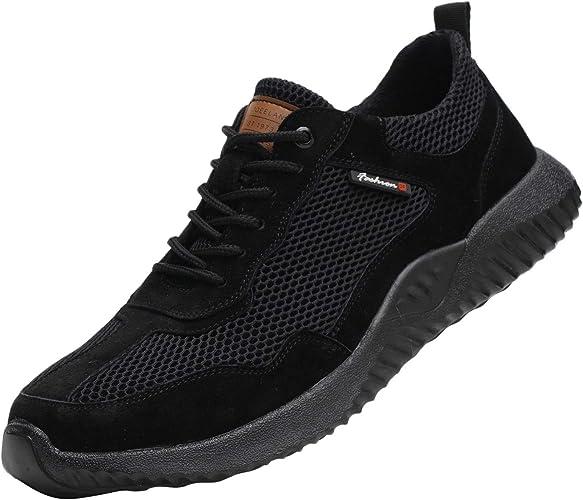 Zapatos de seguridad de acero para los dedos del pie. Zapatos de trabajo a prueba de pinchazos, botas de seguridad, zapatillas de trabajo, ligeras suaves y transpirables. Color negro, talla 46: Amazon.es: