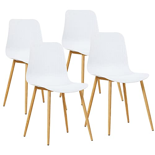 GreenForest Dining Chairs Set of 4 Mid Century Modern Chairs for Kitchen Living Room Side Chairs with Metal Legs and Plastic Seat, White