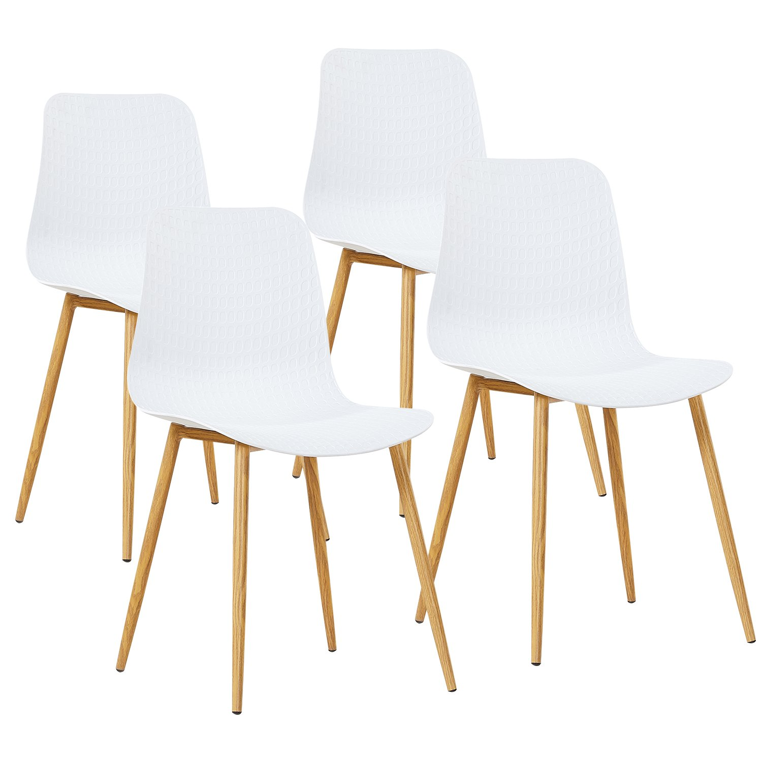 GreenForest Dining Chairs Mid Century Modern Style Dining Side Chairs Plastic Back and Seat Metal Wood Legs for Kitchen Dining Room Chairs, Set of 4 White