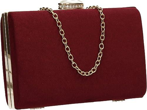 Women/'s Faux Suede Velvet Ladies Evening Party Prom Bridal Smart Box Clutch Bag