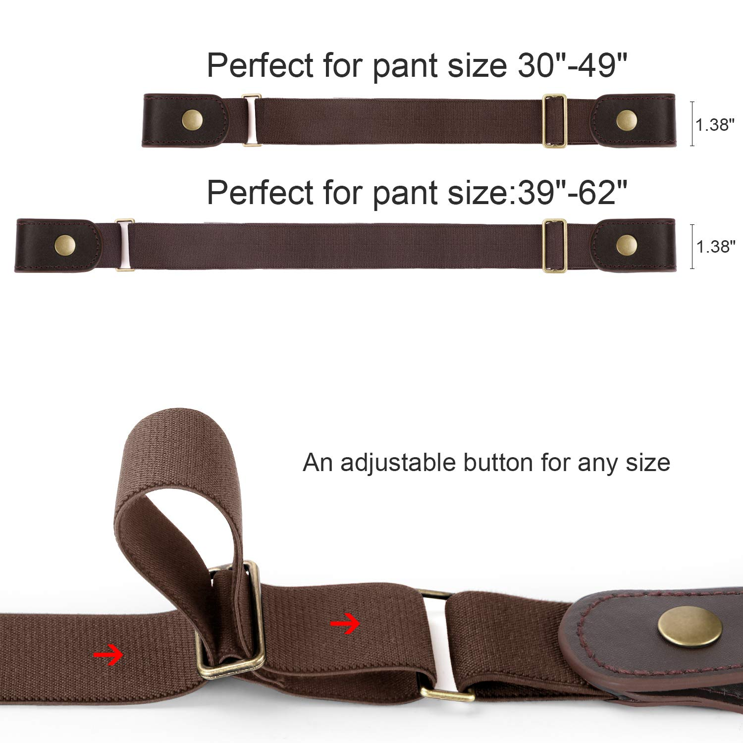 No Buckle Stretch Belt Invisible Adjustable Elastic Waist Belt for Jeans Pants,Coffee,Suit for Pants Size 30\