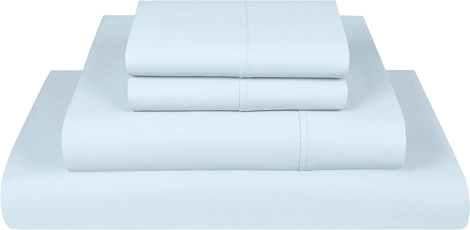 Threadmill Home Linen 600 Thread Count Queen Bed Sheets Set - 100% Extra-Long Staple Cotton Sheets for Queen Size Bed with Deep Pocket, Luxury 4 Piece Bedding Set, Smooth Solid Sateen Weave, Blue