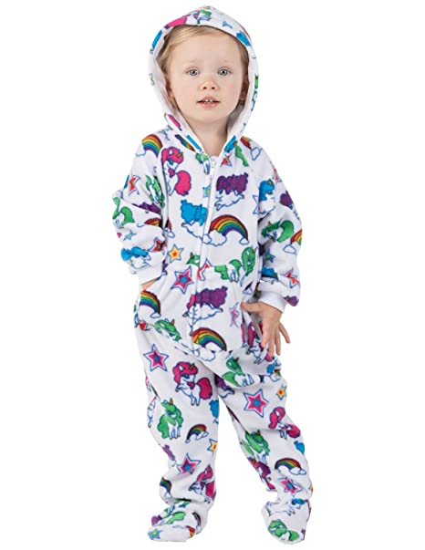 52ea542fbb Footed Pajamas - Rainbows N  Unicorns Infant Hoodie Fleece Onesie - Large