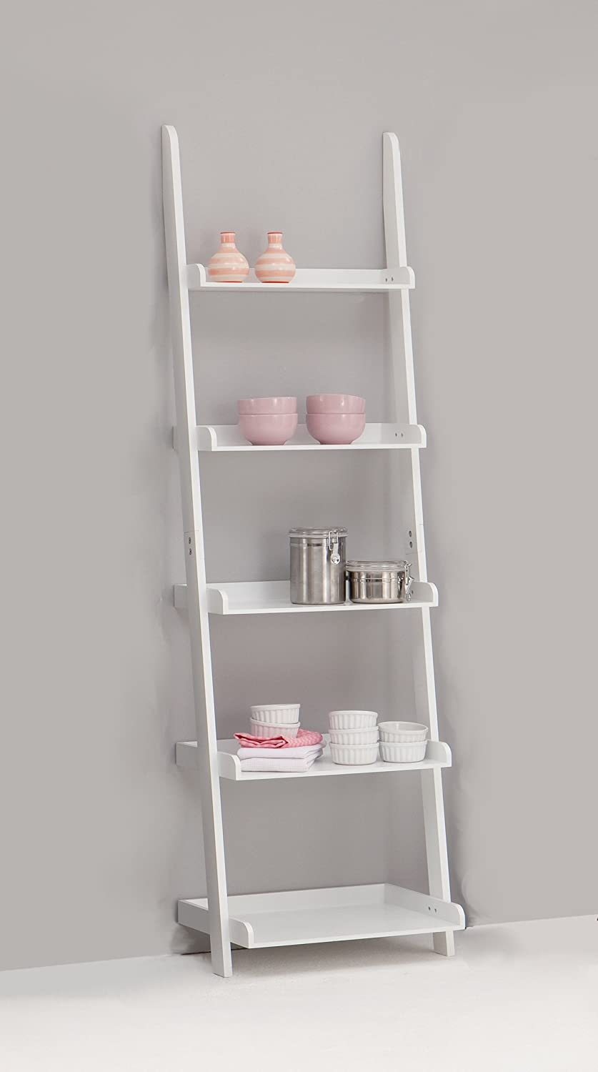 LEITERN White 5-Tiered Ladder Shelf Bookcase Display Unit: Amazon.co ...