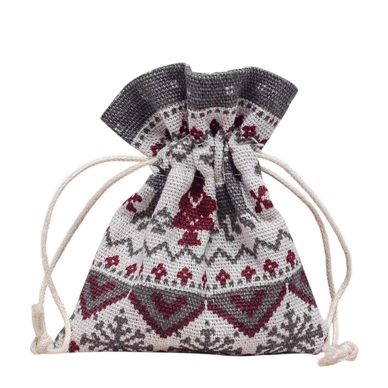 Schmuckboerse24 10pezzi di alta qualità di cotone sacchetto sacchetto sacchettino gioielli motivo natalizio Natale per gioielli regalo colore: rosso cod. SB300