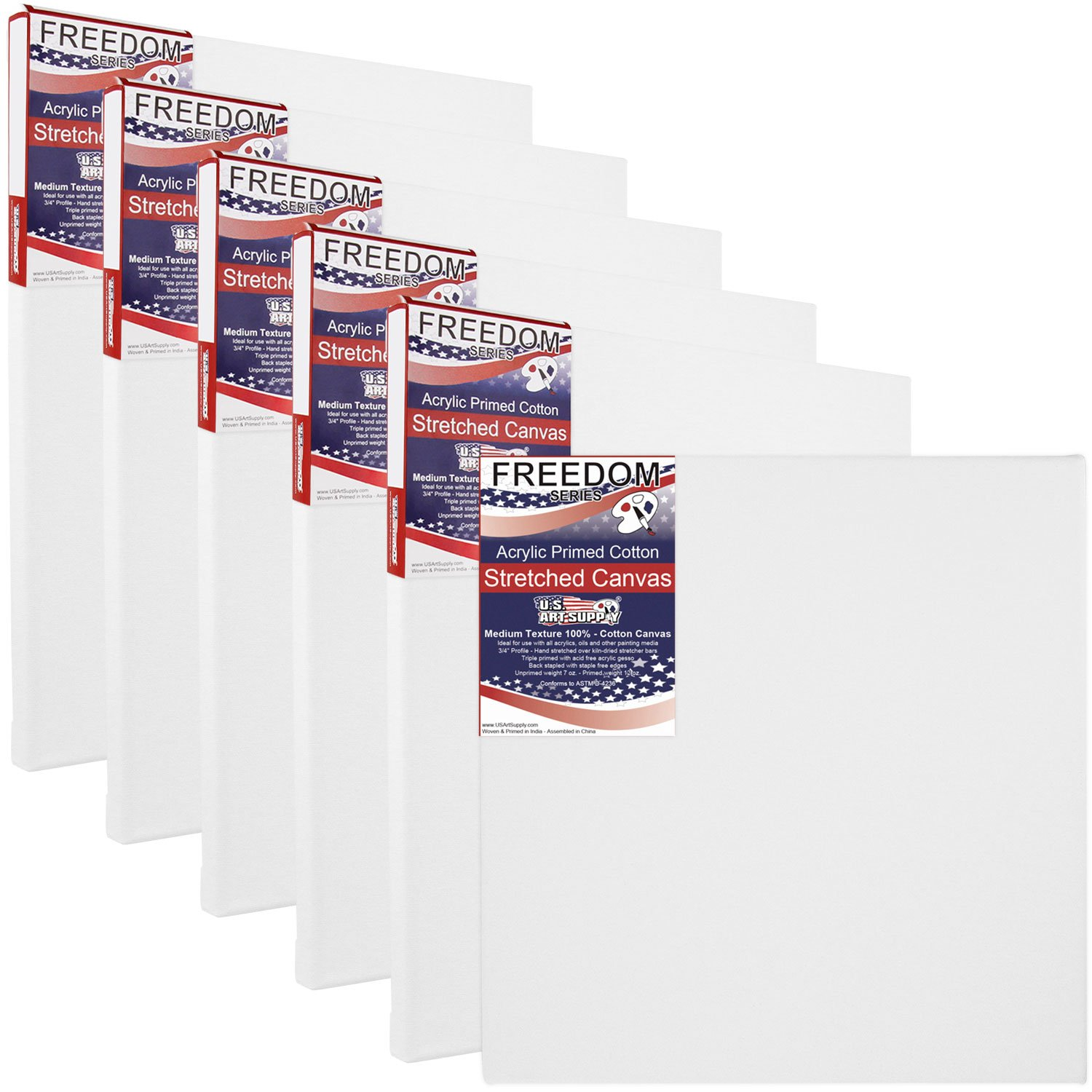 US Art Supply 16 X 16 Inch Professional Quality Acid-Free Stretched Canvas 6-Pack - 3/4 Profile 12 Ounce Primed Gesso - (1 Full Case of 6 Single Canvases)