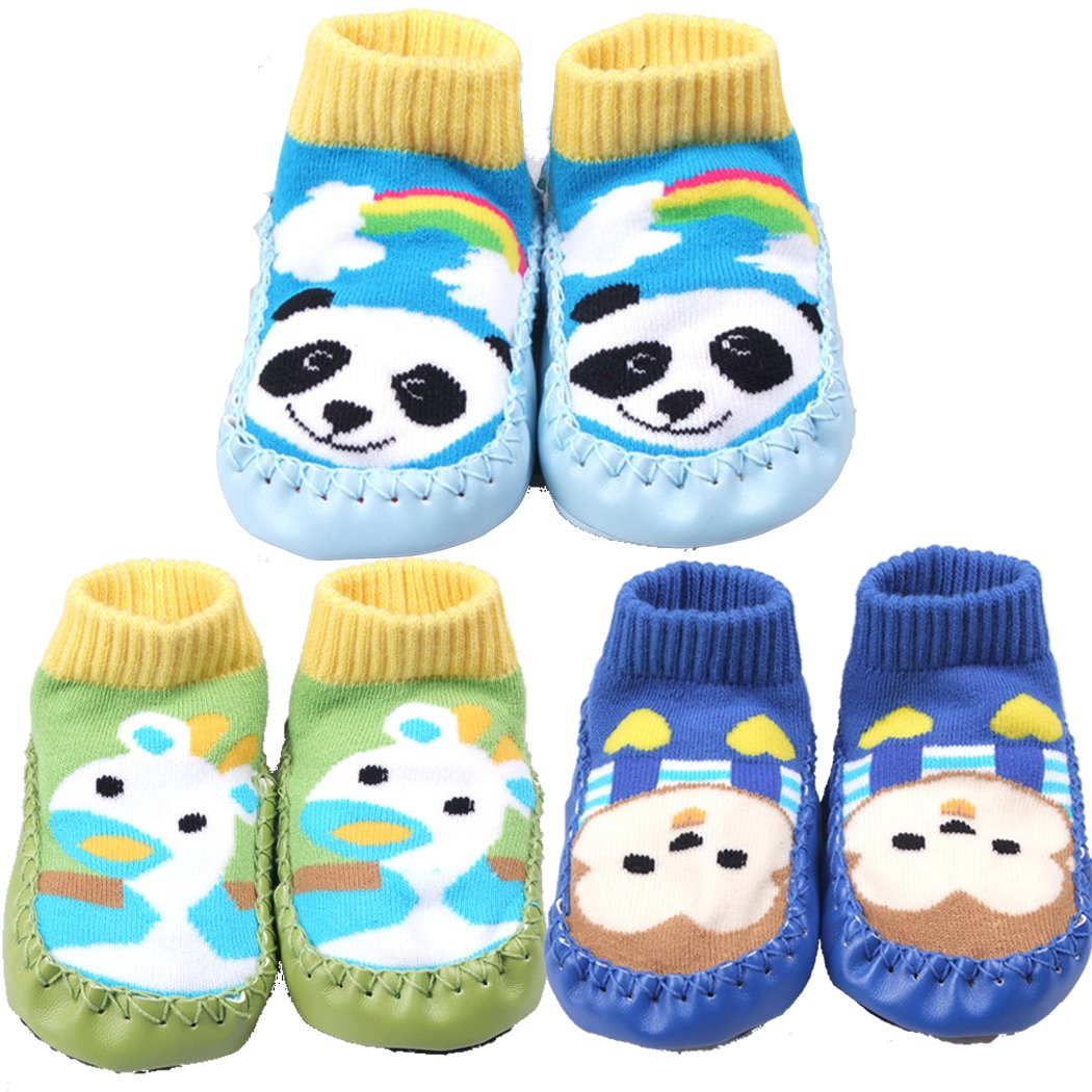 SKK Baby Soft Sole Slipper Socks Prewalkers For Unisex Infant Toddler 3 Pairs