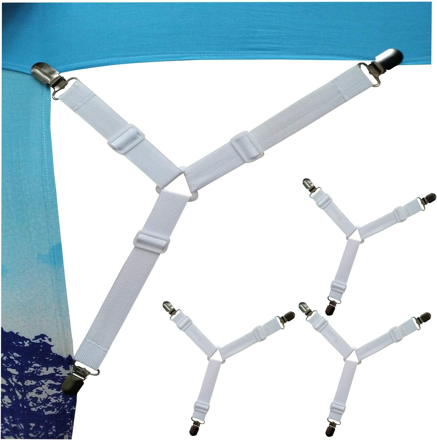 Wendy Mall 4pcs//lot Triangle Bed Sheet Clips Bed Button Buckles Elastic Fasteners Grippers Holder Mattress Cover Blankets Straps Suspender White