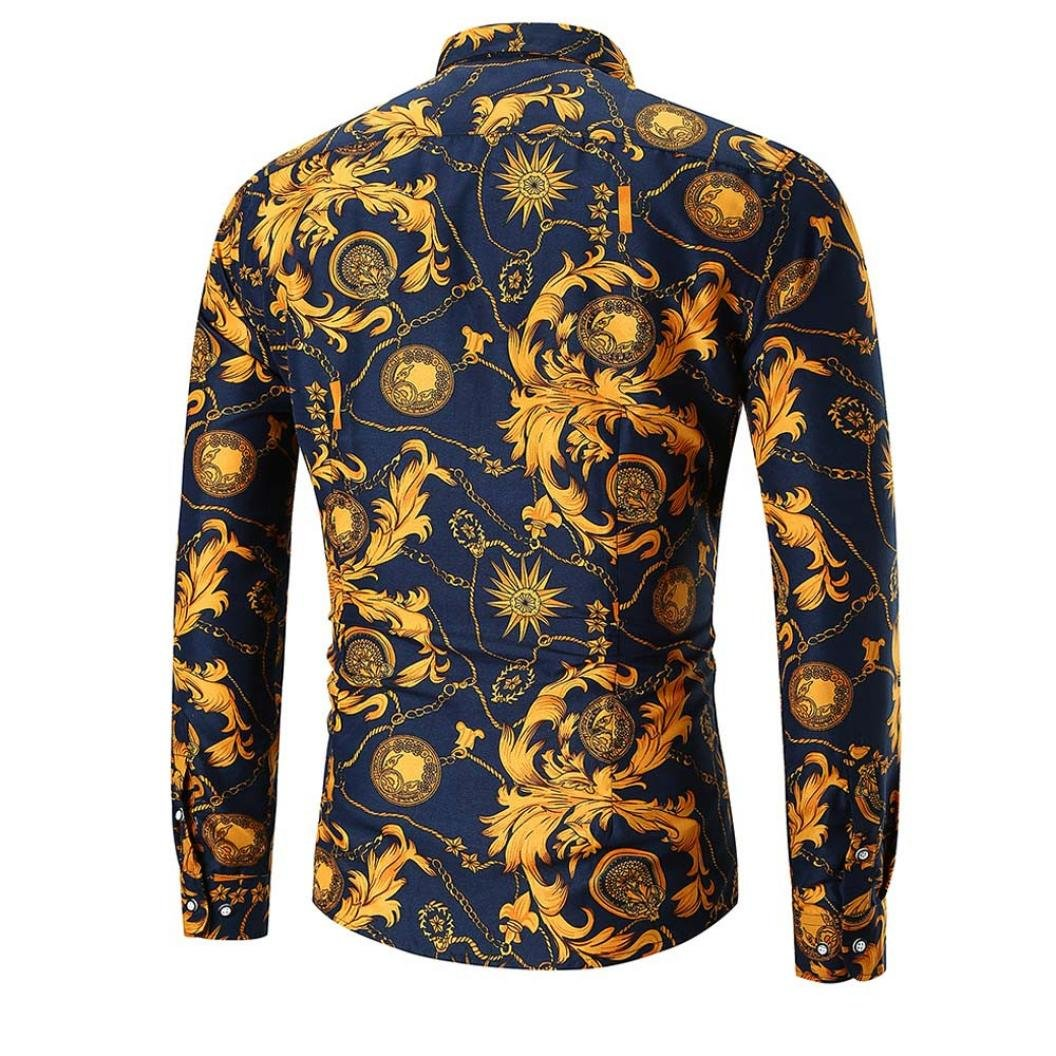 Allywit Mens Printed Polo Shirt Long Sleeve Slim Fit Business Dress Shirt Top