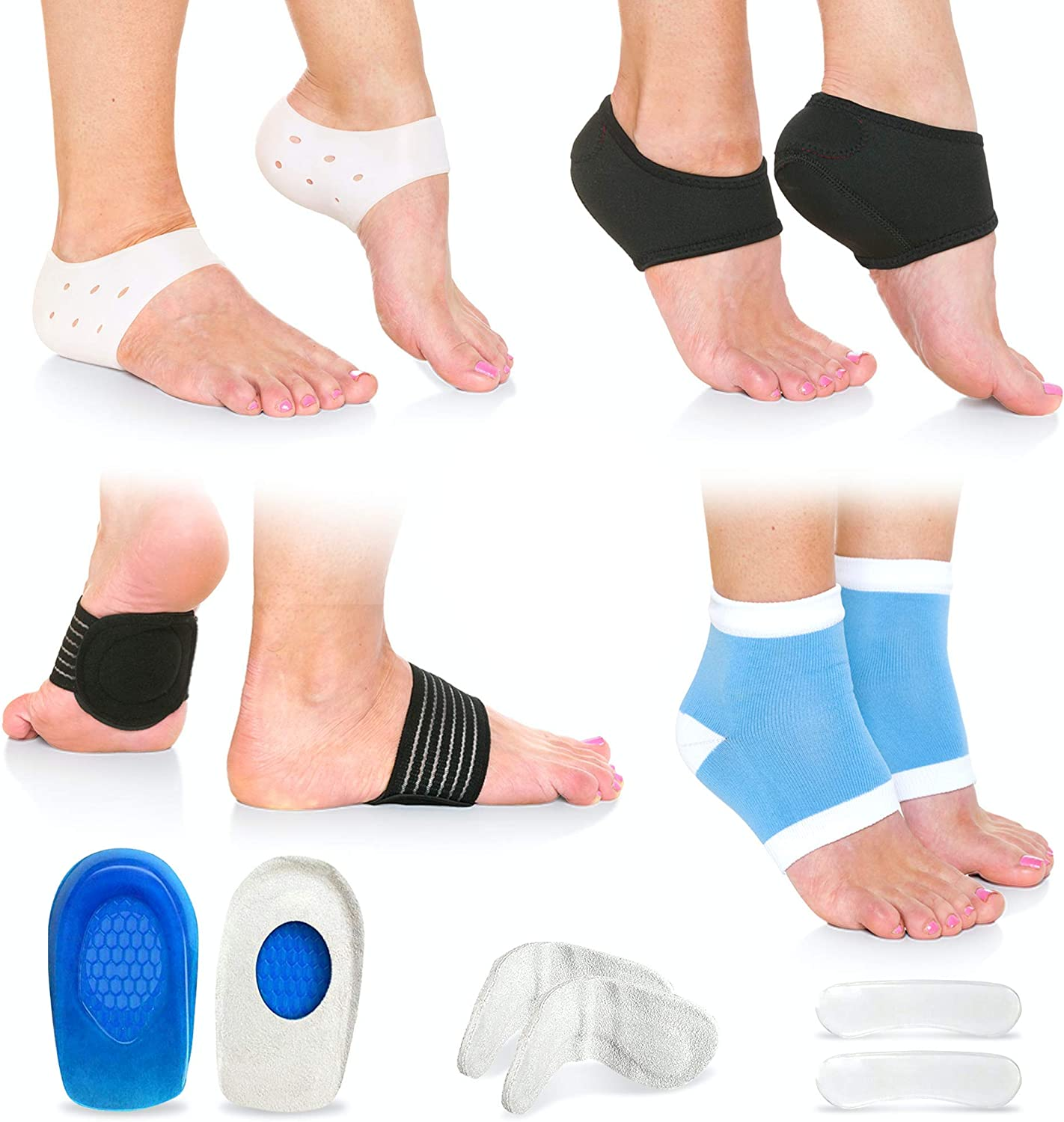 Amazon Com Plantar Fasciitis Foot Pain Relief 14 Piece Kit Premium Planter Fasciitis Support Gel Heel Spur Therapy Wraps Compression Socks Foot Sleeves Arch Supports Heel Cushion Inserts Heel Grips Health