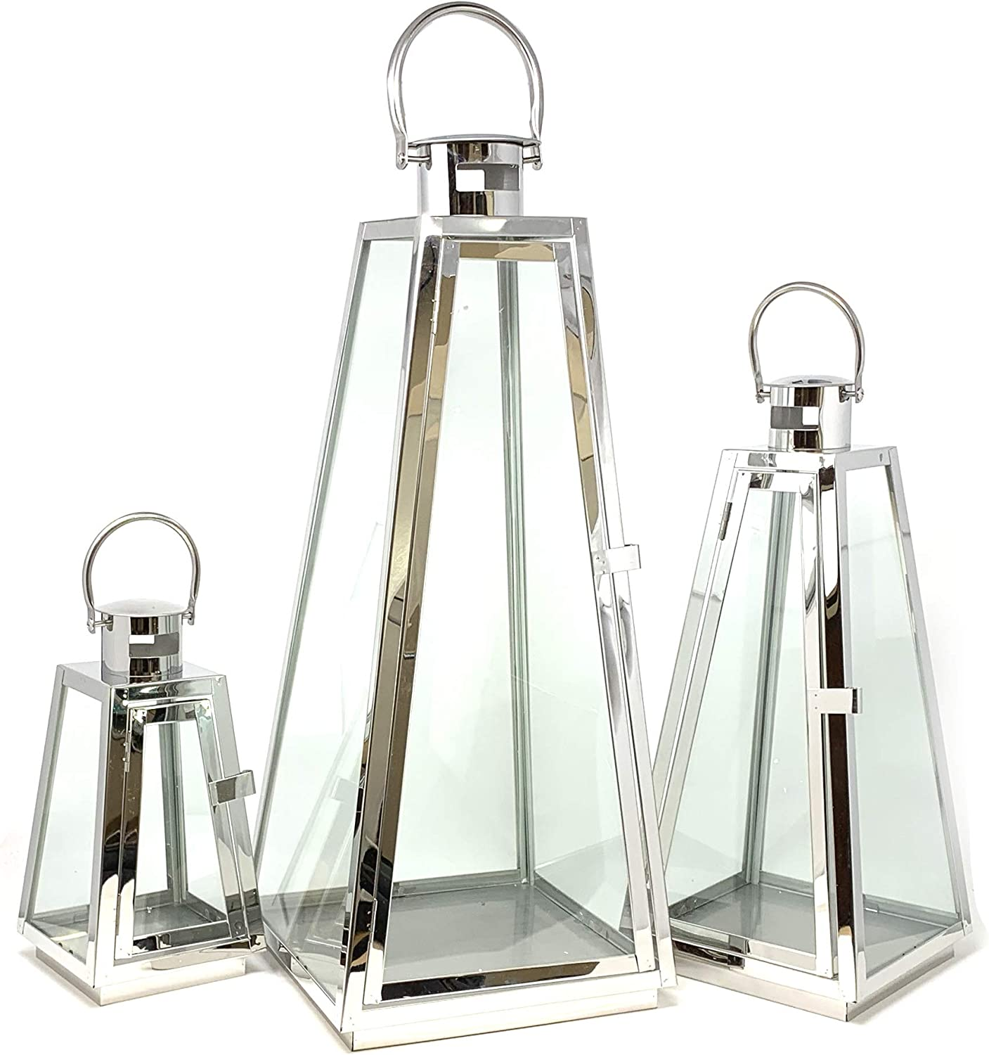 allgala 3-PC Set Jumbo Luxury Modern Indoor/Outdoor Hurricane Candle Lantern Set with Chrome Plated Structure and Tempered Glass-Taper Silver-HD88022