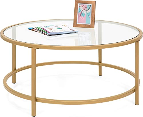 Best Choice Products 36in Modern Round Tempered Glass Accent Side Coffee Table