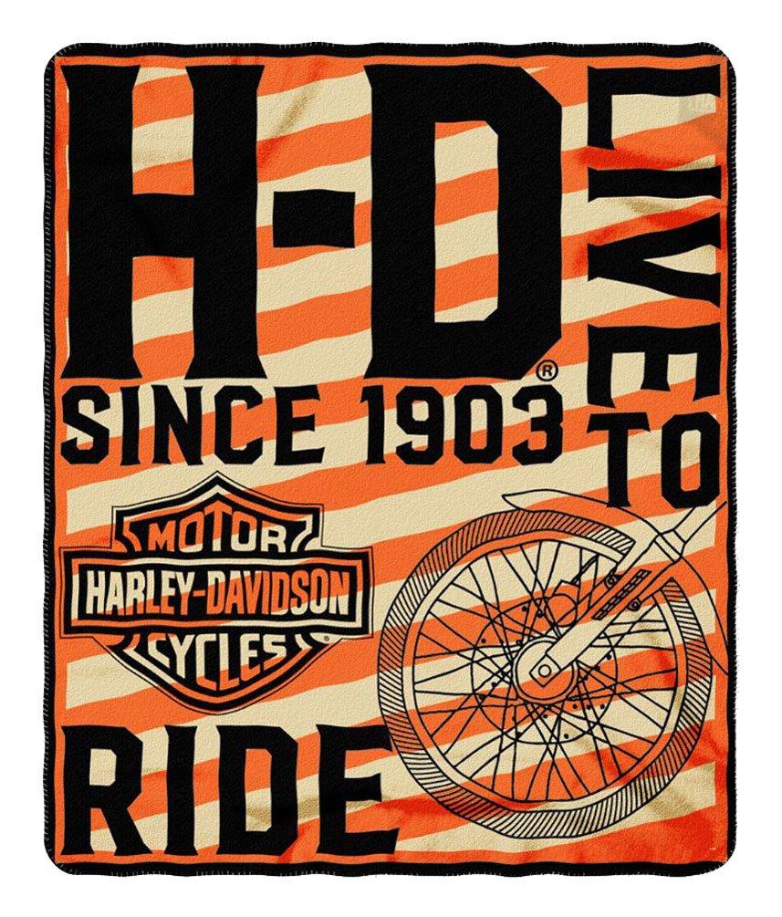 Harley-Davidson Belief Bar & Shield Fleece Throw Blanket