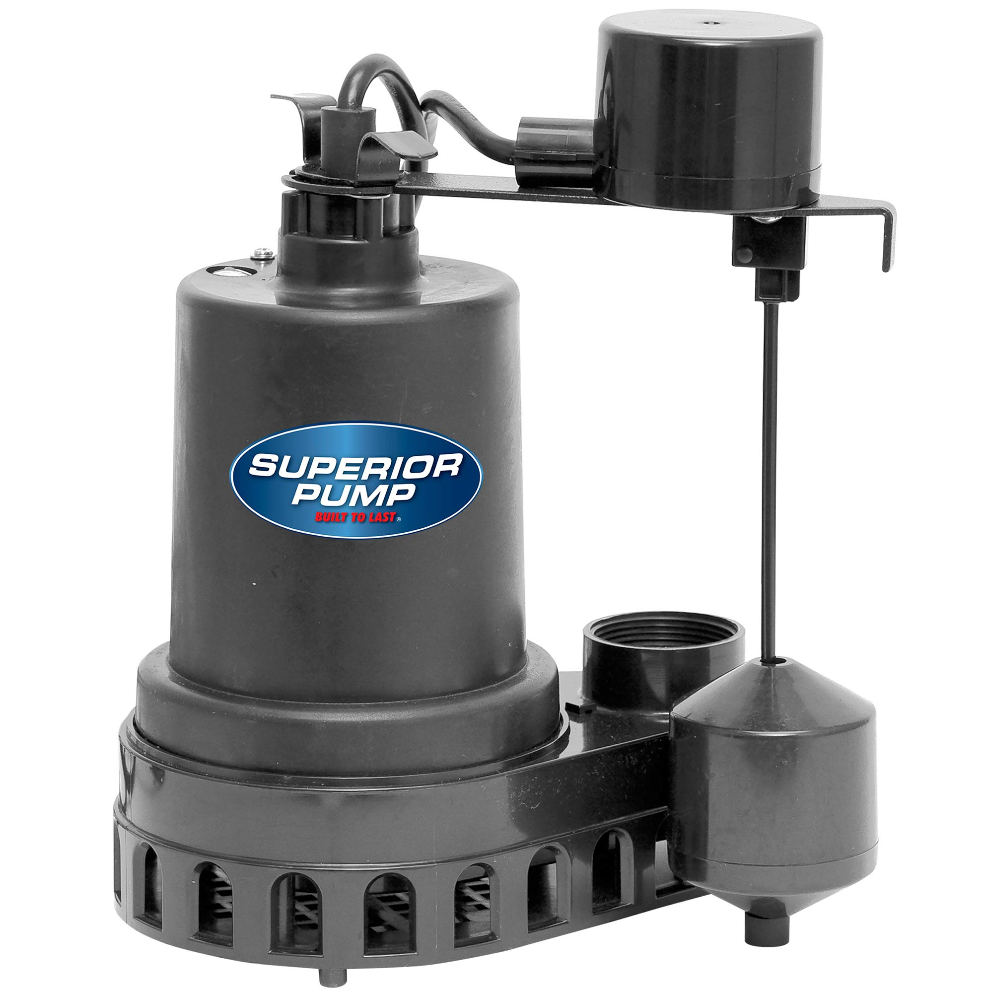 Superior Pump 92572 1/2 HP Thermoplastic Submersible Sump Pump with Vertical Float Switch by Superior Pump