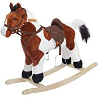 Baybee Unicorn Horse Wooden Plush Rocking Horse with Realistic Sounds | Safely Holds Children ( Brown )