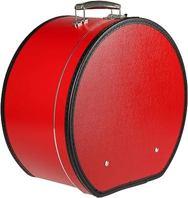 Lierys Sombrerera redonda y roja - Aprox. 40 cm x 21 cm - Caja para sombrero grande de piel sintética - Con asa y cierre - Caja para sombrero - También como