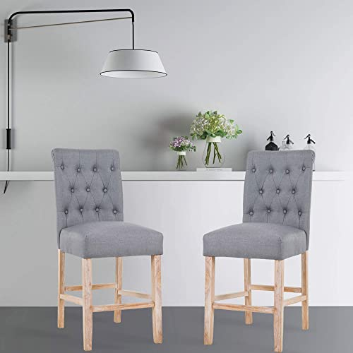 DAGONHIL 25 Inches Counter Height Bar Chairs with Button Tufted Back Solid Wood Stools,Set of 2,Gray