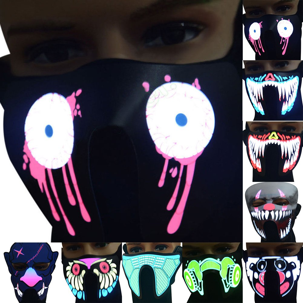 New Face Mask Voice Control luce lampeggiante luminoso per festa di Halloween decorazione fg-ma-02 As Picture Show