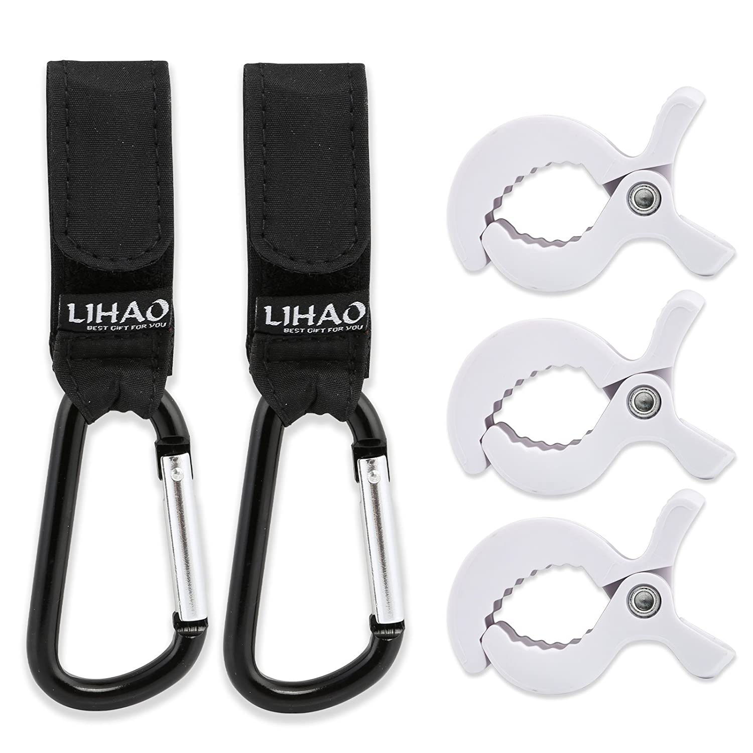 LIHAO 2 Universal Aluminum Buggy Clips for Hanging with 3 Stroller Pegs to Hook Toys