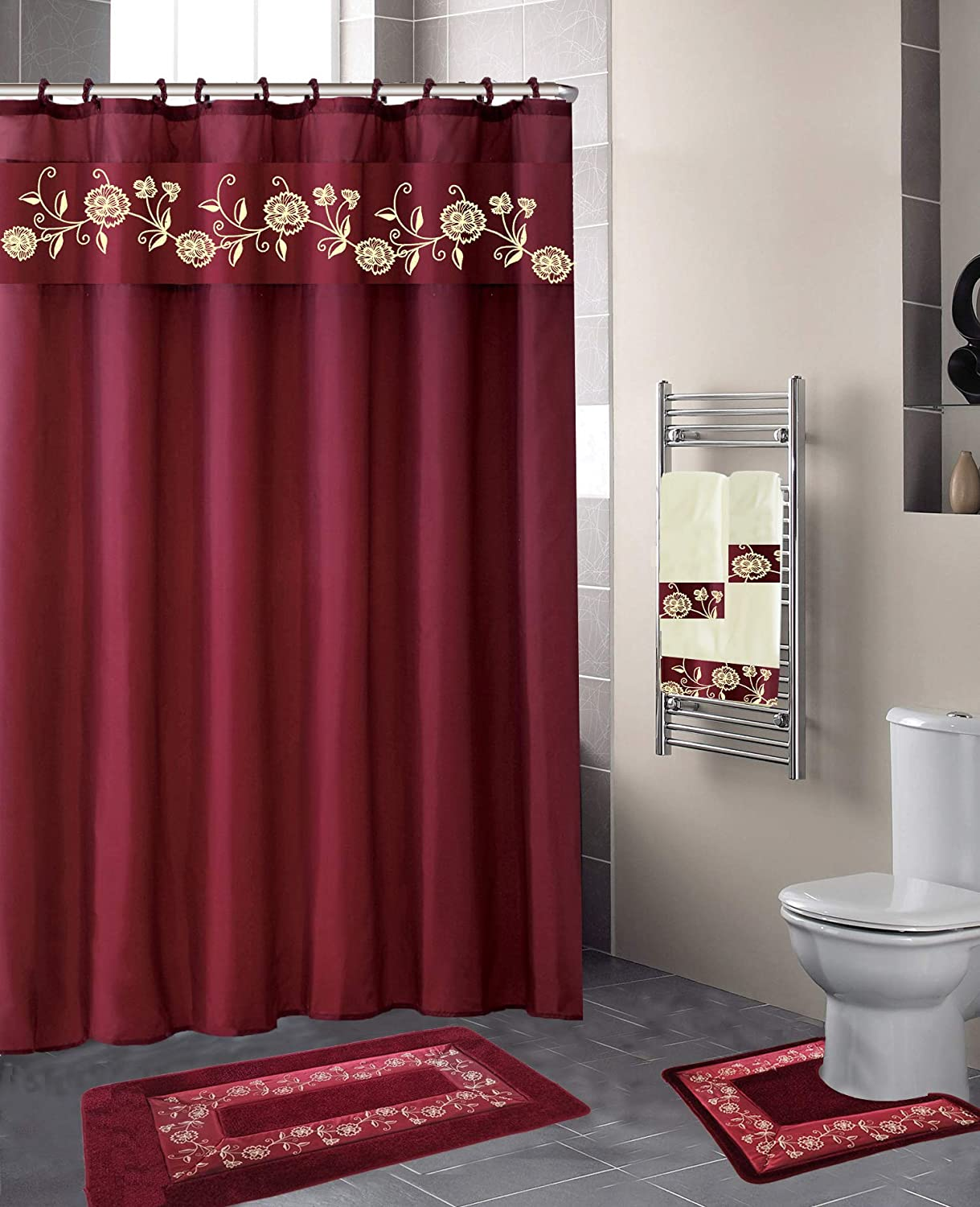 Luxury Home Collection 4 Pc Bath Rug Set Embroidery Non-Slip Bathroom Rug  Mats And Rug Contour And Shower Curtain And Towels And Rings Hooks And