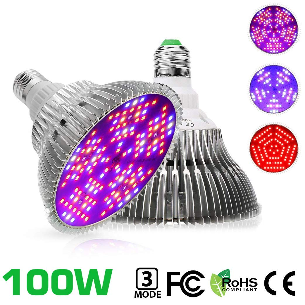 100W LED Grow Light Bulb, WECLUB 150 LEDs 3 Mode Full Spectrum Bloom Growth Plant Growing Lamp, E27 E26 Indoor Plant Light for Vegetable Greenhouse Hydroponic Grow Tent (2) by WECLUB