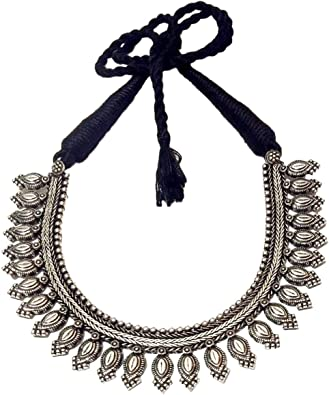 Vintage Black And Silver Costume Jewelry Choker
