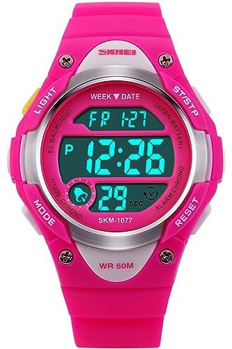 Ni?o Ni?as Relojes Digitales Deportivo 5ATM Impermeable Azul Rosado Negro: Amazon.es: Relojes