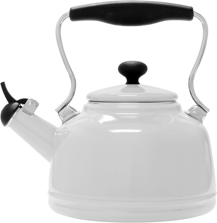 Chantal 37-VINT WT Enamel on Steel Vintage Teakettle, 1.7 quart, White