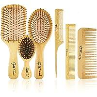 E-More 6-in-1 bamboe haarborstel voor dames Heren Kinderen Bamboe handvat met bamboe haren Haarborstel set met staartkam…