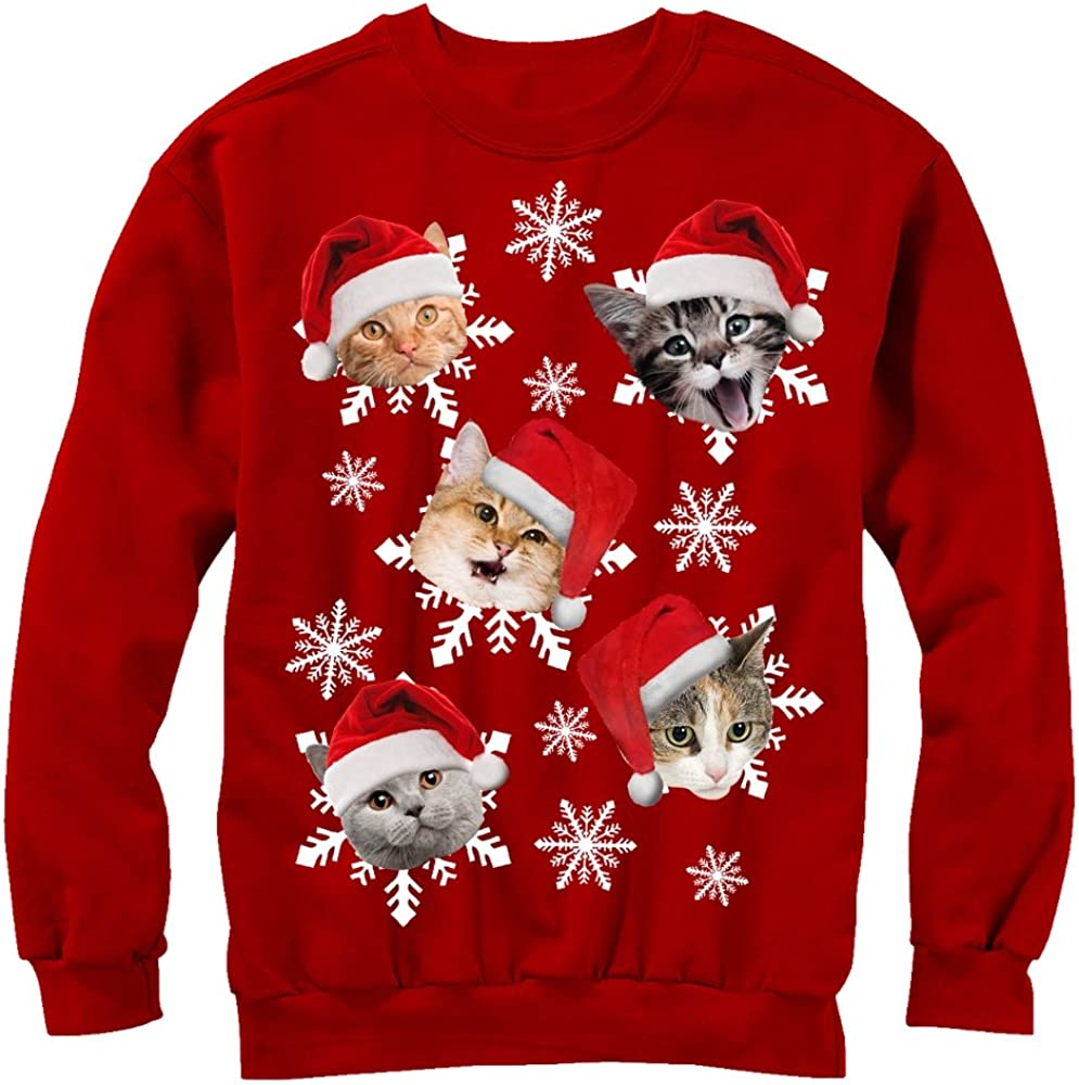 Lost Gods Ugly Christmas Sweater Cat Snowflakes Mens Graphic Long Sleeve Shirt