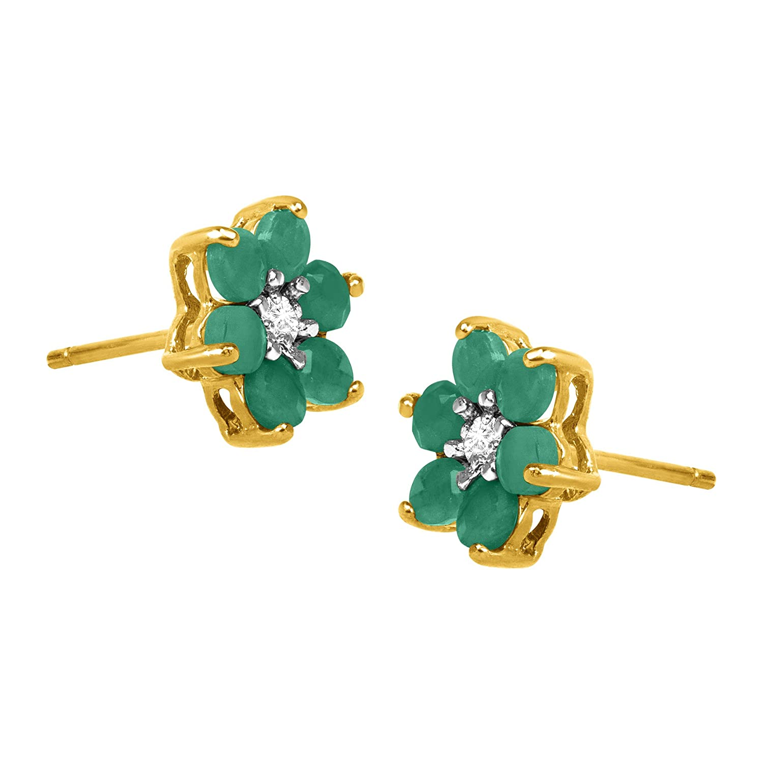 Amazon 1 ct Natural Emerald Flower Stud Earrings with Diamonds