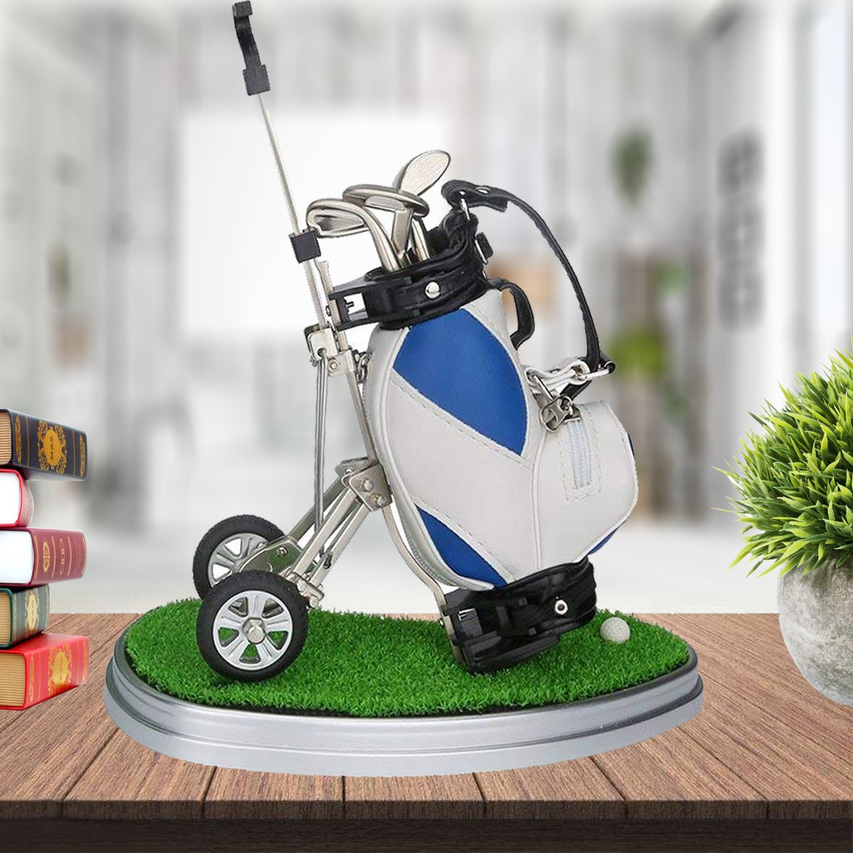 HKOO Golf Gift Golf Pens Holder,Golf Pens with Golf Bag Holder with Model Golf Bag Cart Pen Holder on golf cart trophy, forklift pen holder, golf cart tape dispenser, golf cart organizer, golf bag pen holder, golf cart radio, golf cart mugs, golf cart batteries, golf cart keychain, golf cart bags, golf cart tray,