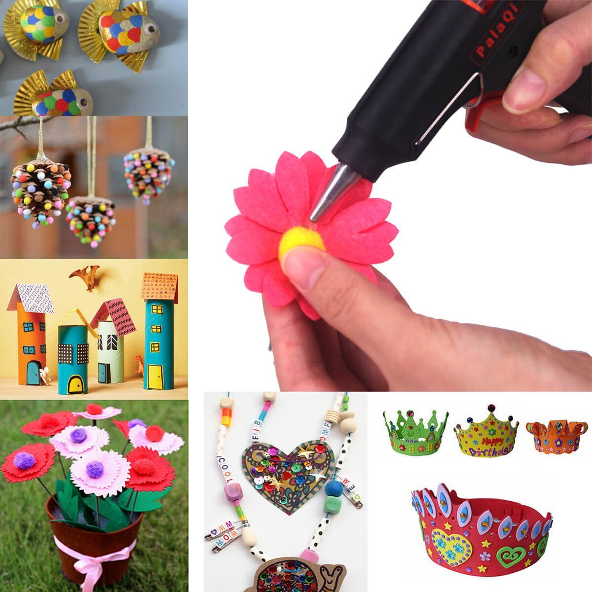 PalaQi Hot Glue Gun,Mini Glue Gun Kit with 50pcs Glue Sticks 20 Watts High Temperature Glue Gun for Artistic Creation Crafts Gifts Sealing DIY Small Craft Projects and Home School Office Quick Repairs
