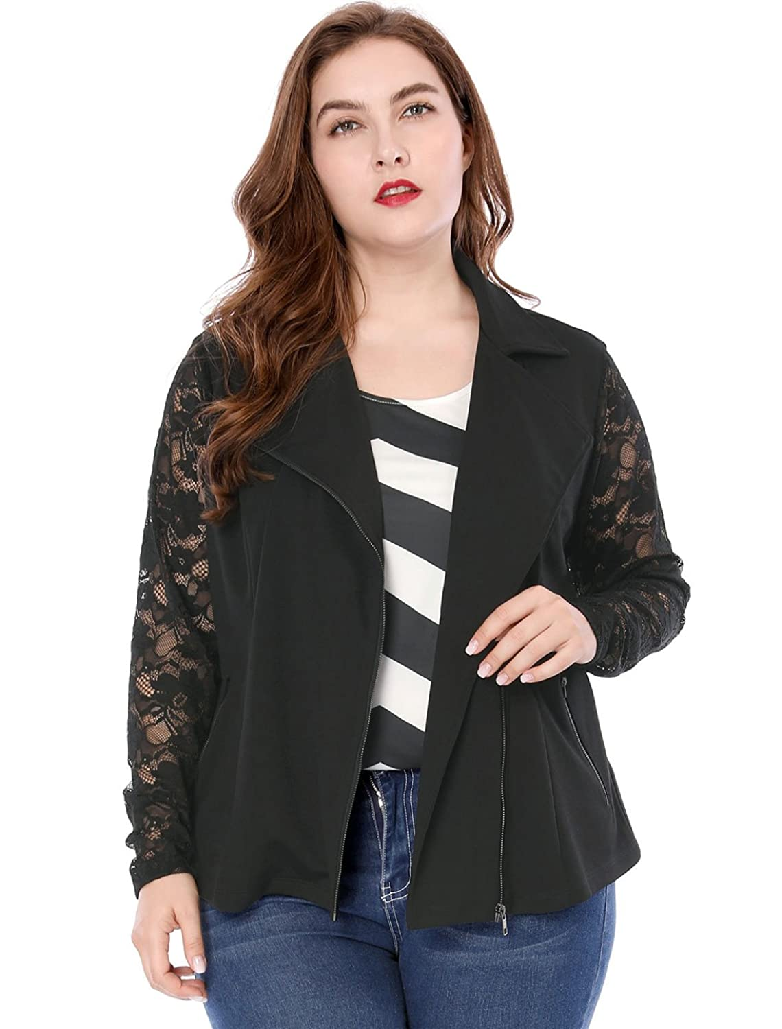 Agnes Orinda Women's Plus Size Lightweight Long Sleeves Lace Zip Moto Jacket