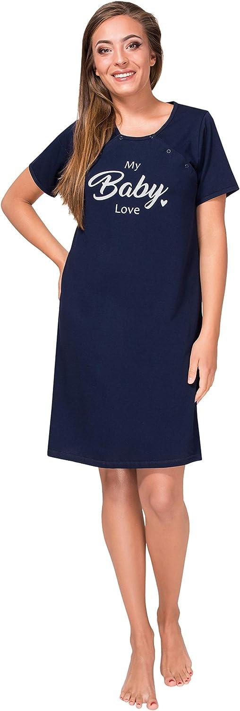 Sibinulo Damen Umstands Nachthemd mit Stillfunktion Stillshirt Baby Love Marineblau