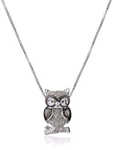 Amazoncom Sterling Silver White Diamond Owl Pendant Necklace 1