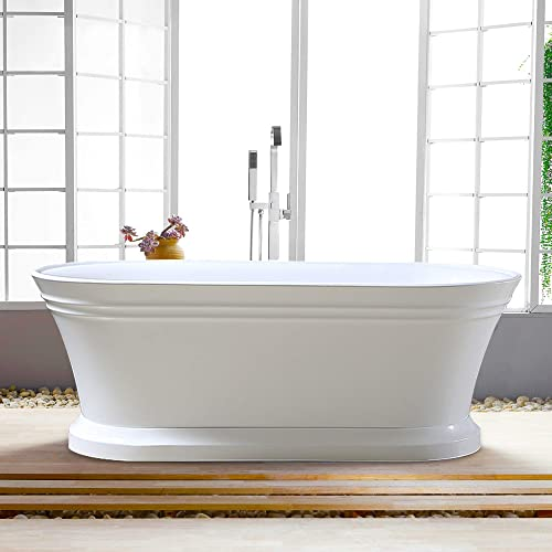 Vanity Art Freestanding White Acrylic Bathtub Modern Stand Alone Soaking Tub