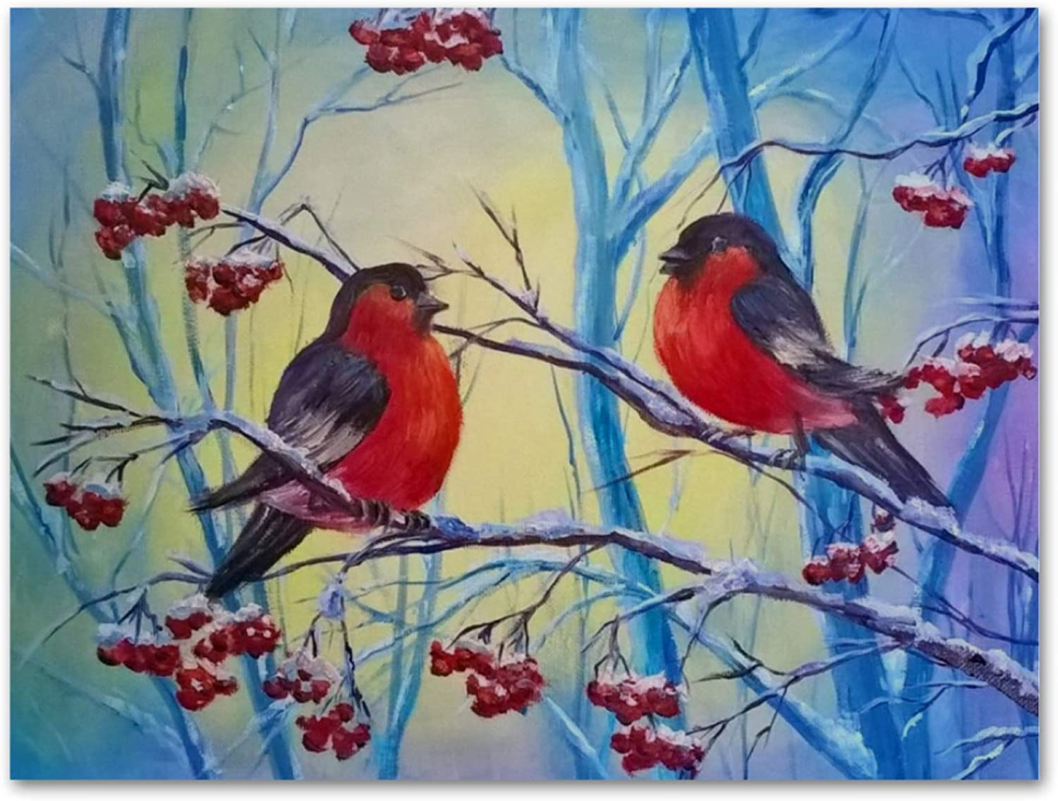 imobaby Oil Painting on Canvas Couple Bullfinch Birds Prints with Wooden Frame for Bedroom Home Living Room Office Modern Wall Art Decor, 11.8x19.6 in