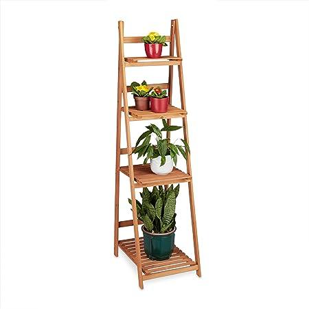 Relaxdays Estantería Escalera para Plantas de Interior, Madera, Marrón, 161 x 41 x 50 cm: Amazon.es: Jardín
