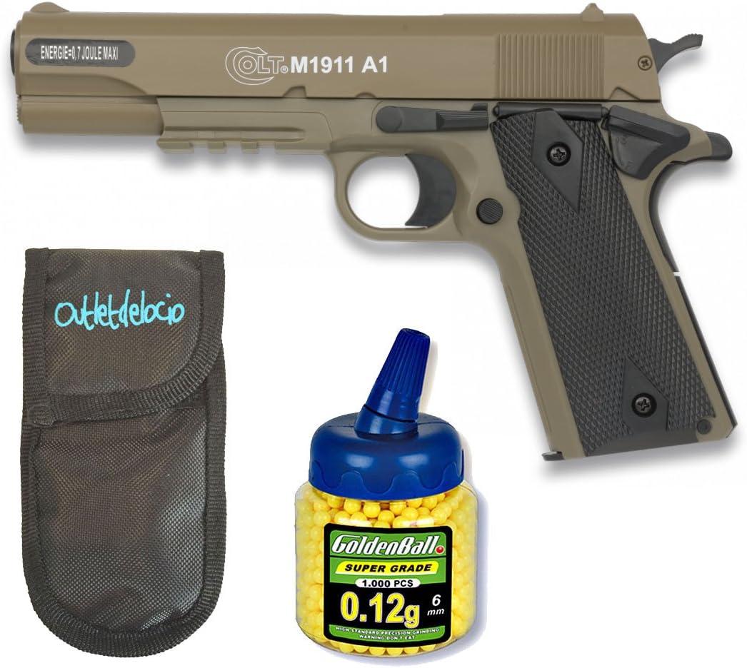 Outletdelocio. Pack Pistola Airsoft Colt M1911 A1 corredera Metalica. Calibre 6mm. + Funda Portabalines + Biberon 1000 Bolas. 21993/23054