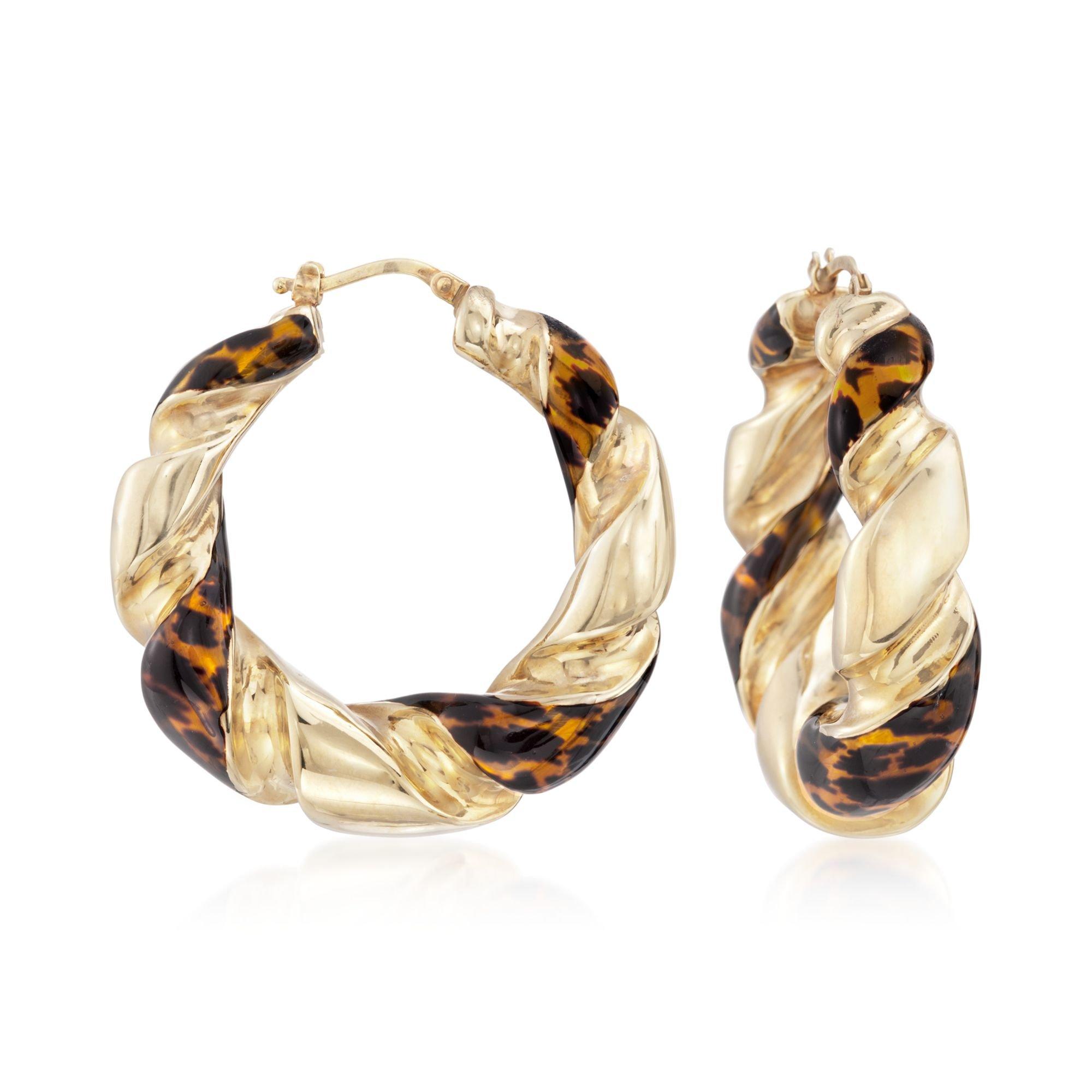 Ross-Simons Italian 18kt Yellow Gold Over Sterling Hoop Earrings with Leopard Enamel
