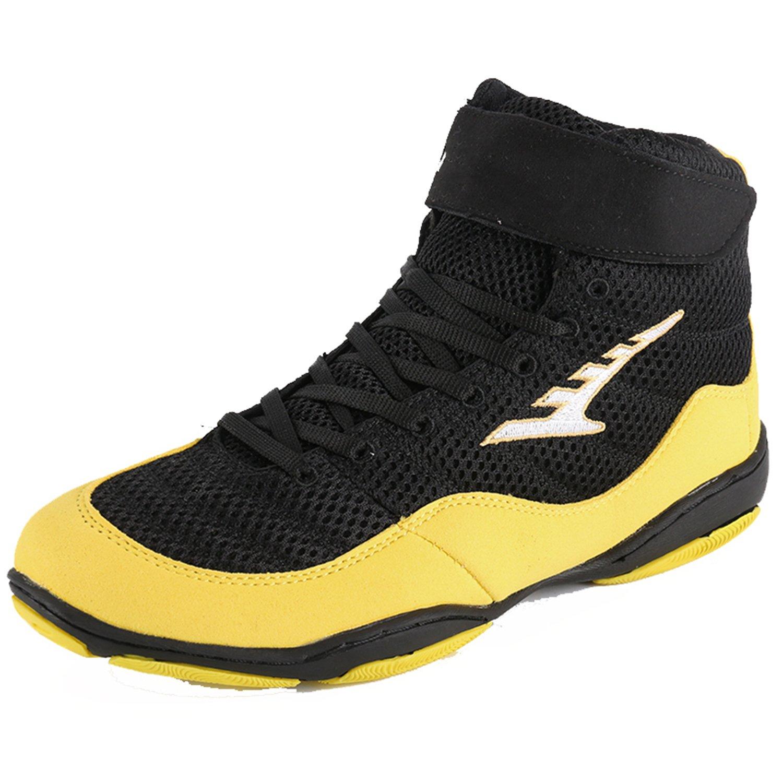 Wrestling Shoes Boxing Boots Rubber Sole Combat Training Shoes for Men&Women&Children Kids B07DB6D9ZF 9.5  M US|Yellow