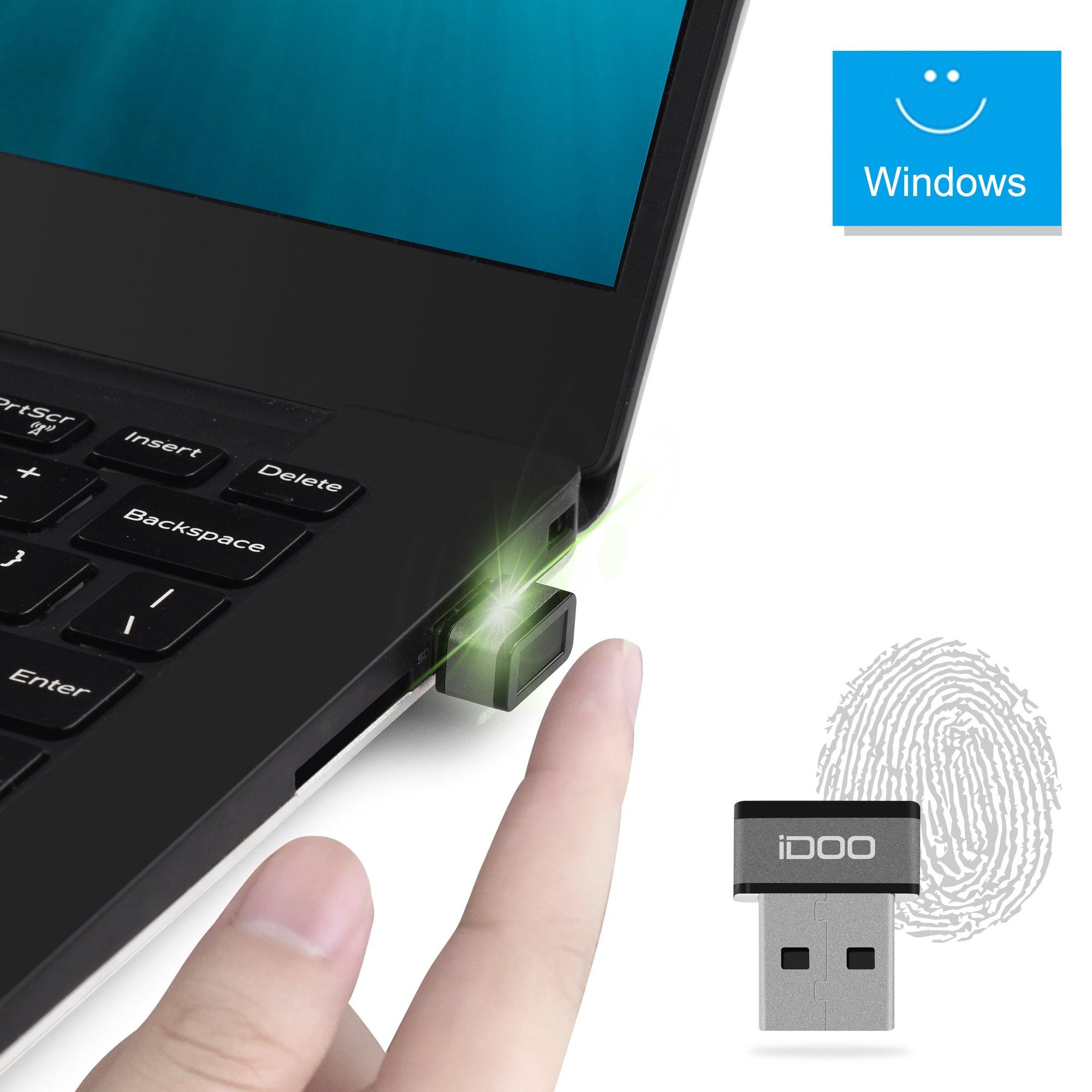 Mini USB Fingerprint Reader for Windows 7/8/10 Hello, iDOO Lockey USB Fingerprint Sensor, 360 degree Touch Speedy Matching Fingerprint Scanner Biometric Security Key PC Dongle